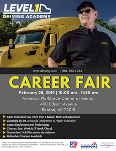 Career Fair with Level1 Driving Academy in Benton, AR on February 28, 2019 at the Arkansas Workforce Center at Benton