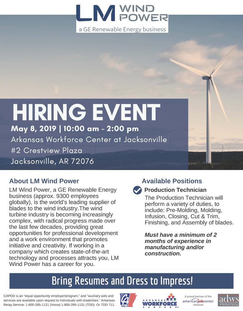 Hiring Event - LM Wind Power - Jacksonville, AR