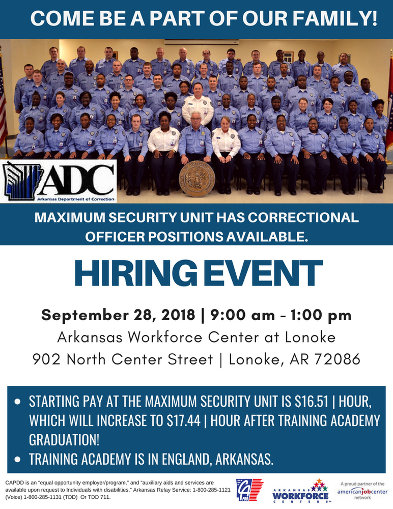 Hiring Event - Arkansas Department of Corrections