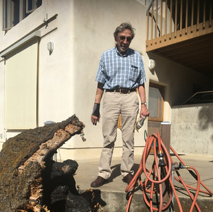 Randall Hauser and a burnt tree stump