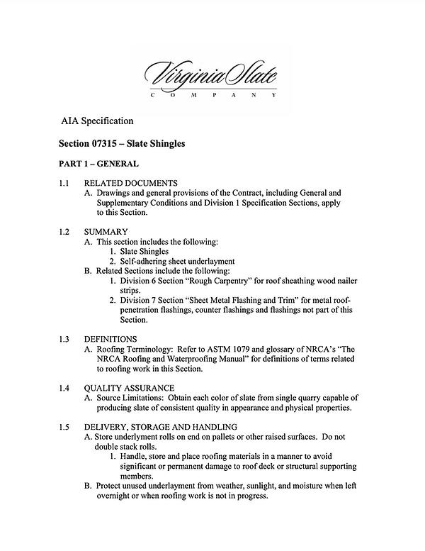AIA Spec Sheet