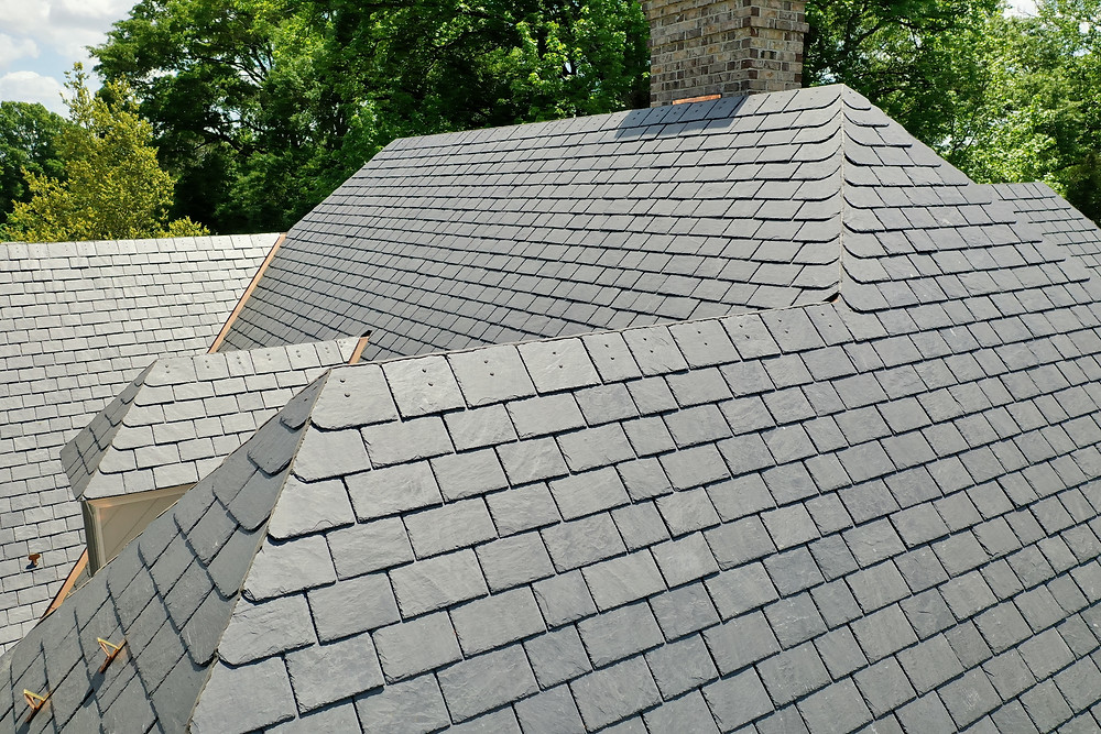 Virginia Slate Company Supplied Roofing Material. Called Unfading Classic Black, very popular Slate option for roofing!