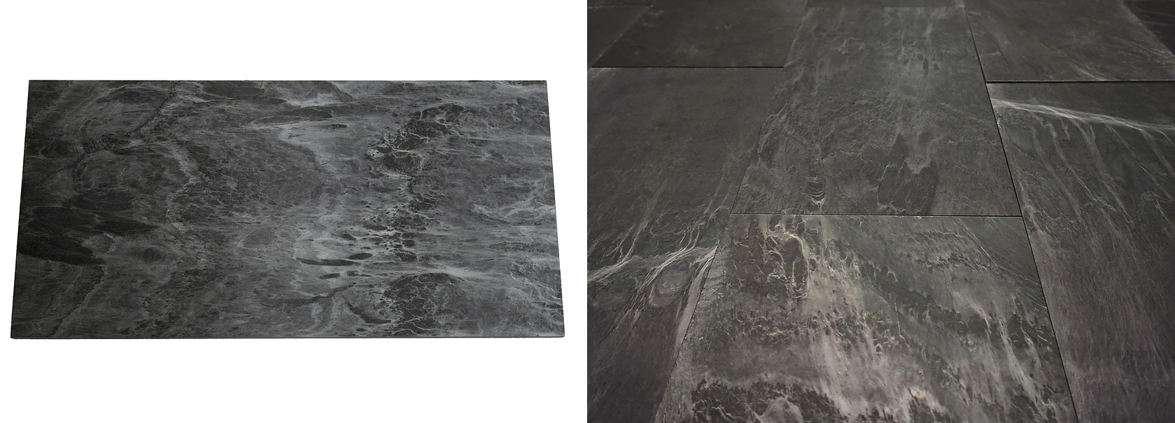 This unique slate is a brilliant silver color with natural texture. Under light you will experience a beautiful shine along the slate veins.  This elegant slate will enrich and brighten wherever it is installed.