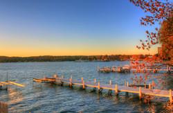 Wisconsin Lake Geneva Docks At Dusk
