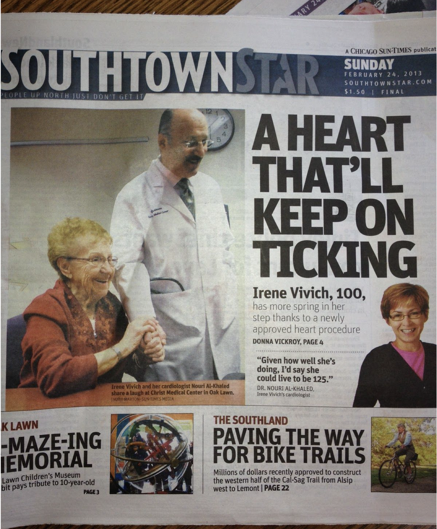 Dr. Al Khaled treated Irene, 100 years old, with an aortic valve delivered through an angiogram (TAV