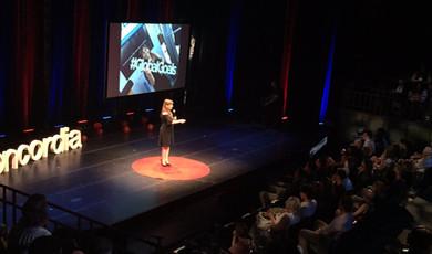 Master of Ceremonies, Tami Kesselman, at TEDx Concordia