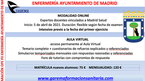Nuevo Curso Ope Enfermería Ayuntamiento de Madrid