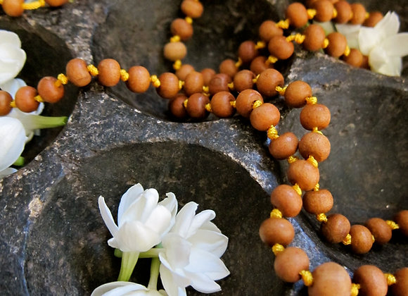 Knotted sandalwood Mala for Meditation 31 inches long with jasmine