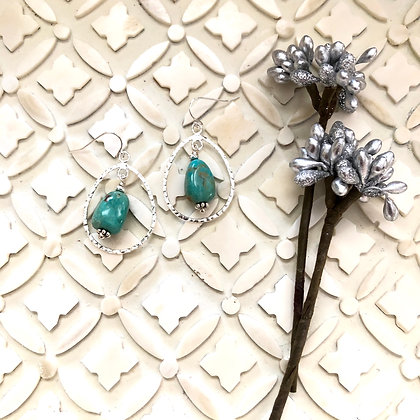 Hammered Silver Drops with Turquoise Nugget Earrings 2 inches 1 inch Turquoise nugget