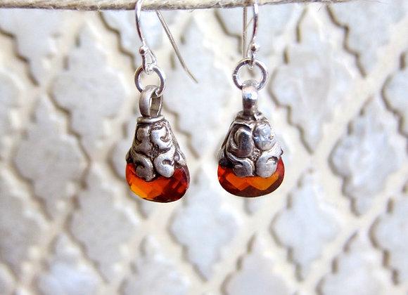 Carnelian gemstones in Fine Silver Wrapped Earrings 1.5 inches