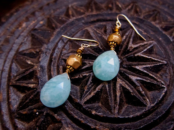 Faceted Amazonite Brass and Hematite Stone Earrings 1.5 inches close up