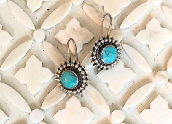 Turquoise Sterling Sun Drop Earrings from Breathe Deep Designs