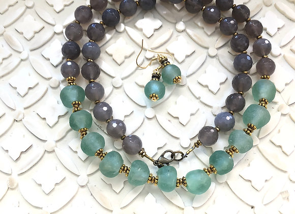 The Ocean Ghana Glass and Agate necklace with matching earrings