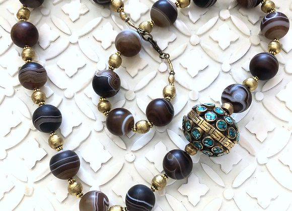 Agate and Turquoise Brass Ball Necklace 29 inches long