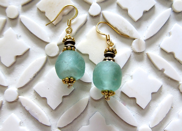 Upcycled Ocean Blue Bottle Glass Earrings 1.25 Inches