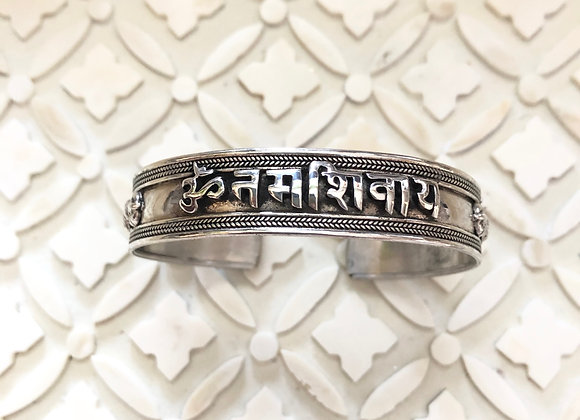 Wanderer Om Mani Padme Sterling Protection Cuff