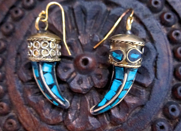 Brass Tusk Earrings with Turquoise Inlay and 18k gold hooks