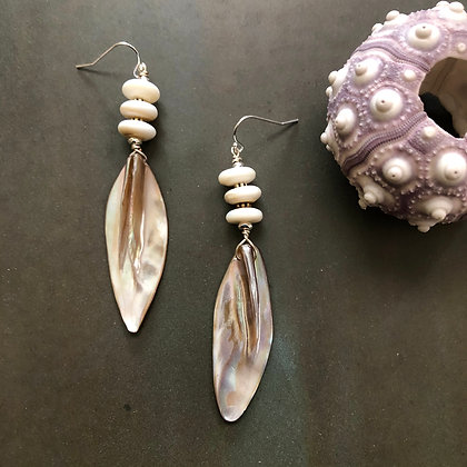 Pink Mother Of Pearl Feather Earrings front view
