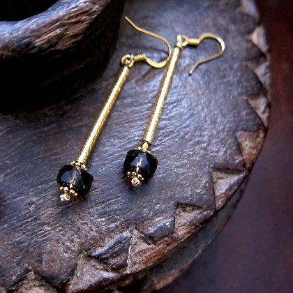Smokey Quartz with Hematite beads on 18k gold stick earrings