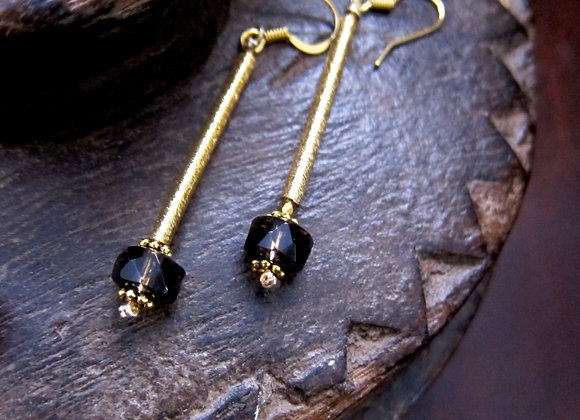Smokey Quartz with Hematite beads on 18k gold stick earrings