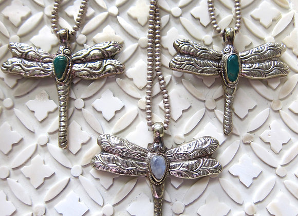 Gemstone Dragonfly Necklace Unique