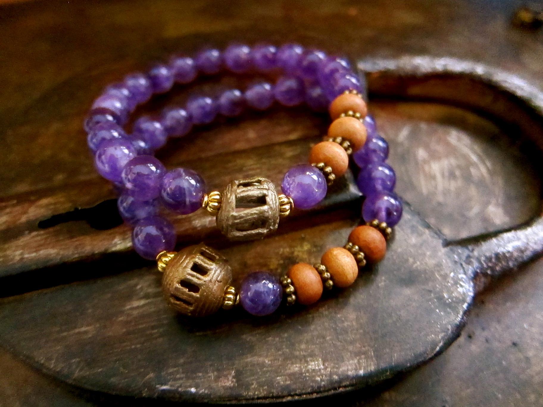 Amethyst Brass Trade Bead Stretch