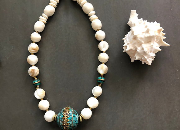 Mother of Pearl and conch shell with Turquoise Ball Necklace