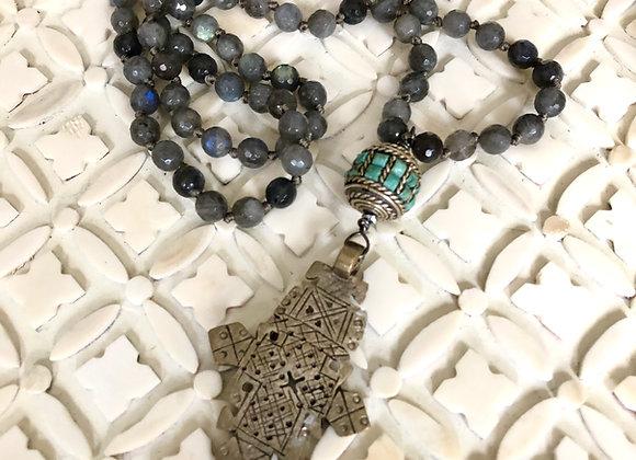Breathe Deep Designs Ethiopian Cross and Labradorite Necklace