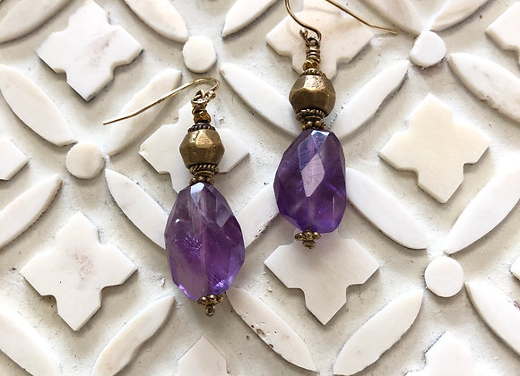 Brass bead with Organically shaped Amethyst Earrings