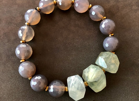Gray and Green Large Stone Stretch Bracelet by Breathe Deep Designs