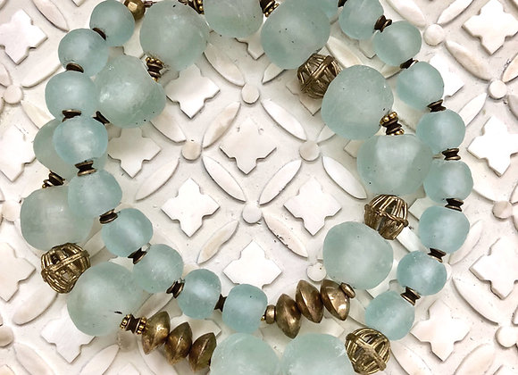 Upcycled Light Blue Ghana Glass and Brass Necklace with Brass Clasp