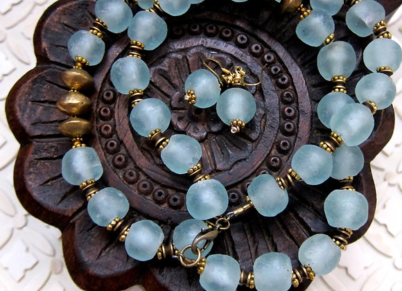 Upcycled Blue Bottle Glass Necklace with Brass Lobster Claw Clasp
