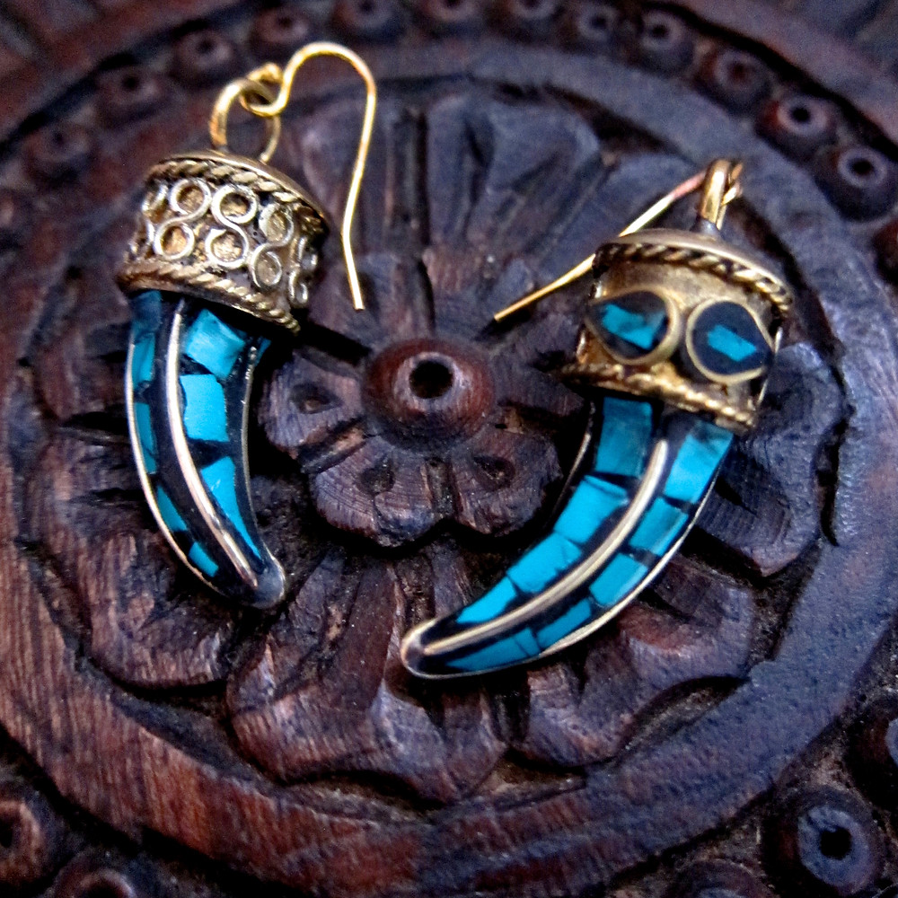 18K GOLD HOOKS, INLAID TURQUOISE TUSK AND BRASS EARRINGS