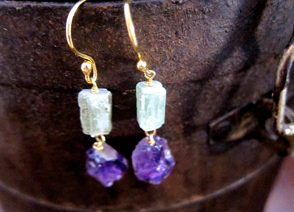 Green Kyanite and Amethyst Drop Earrings with 18K gold posts