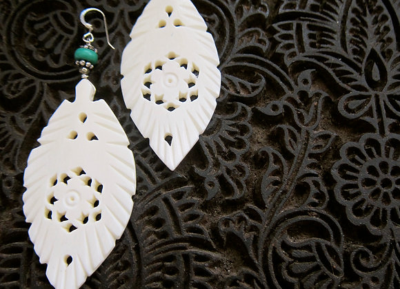 Large 3 inch Carved white Feather with Turquoise with Sterling Silver Earrings