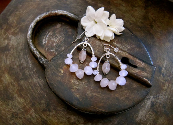 Sterling Hoop Earrings with Faceted Rose quartz stones