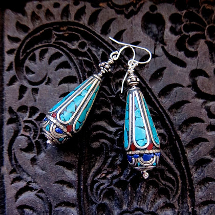 Nepalese Turquoise and Lapis Inlaid 1.75 inch Earrings with Sterling Hooks