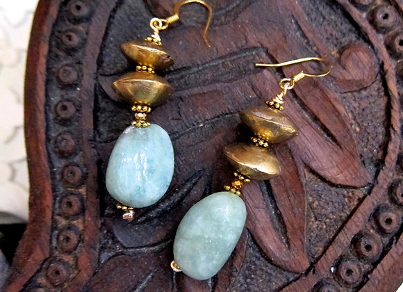 Natural Aquamarine and Brass Disc Earrings 2 inches