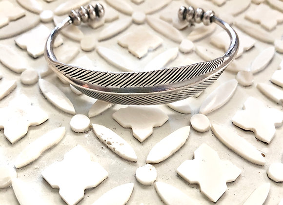 Wanderers Solid Fine Hand Embellished Silver Feather Cuff