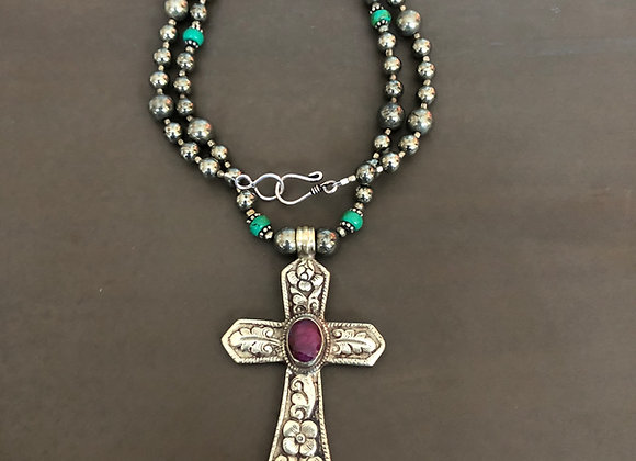 Silver Pyrite, turquoise and Pink Ruby Cross Necklace