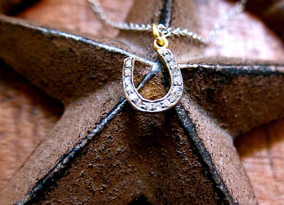 The .60 inch Champagne Pave Diamond Horseshoe Necklace