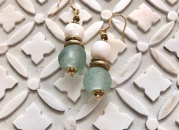 Blue Ghana Glass, brass and shell earrings