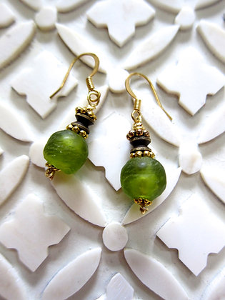 Apple Green Ghana Glass Earrings with Antique Brass wire hooks