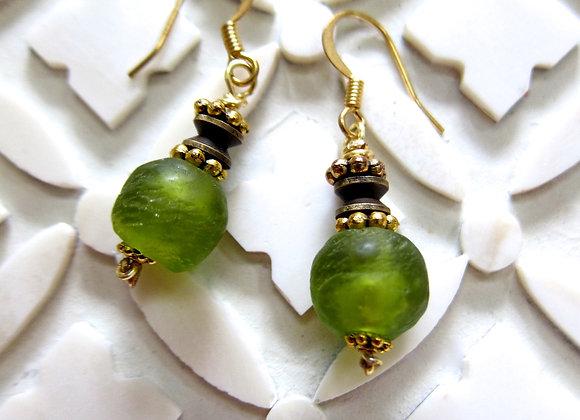Apple Green Ghana Glass Earrings by Breathe Deep Designs