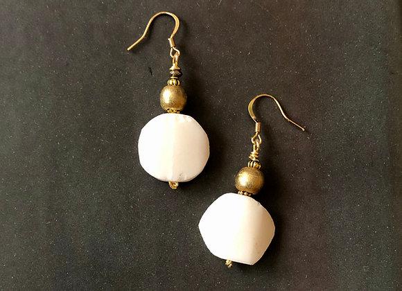 Modern Organically shaped Bone Disc Earrings