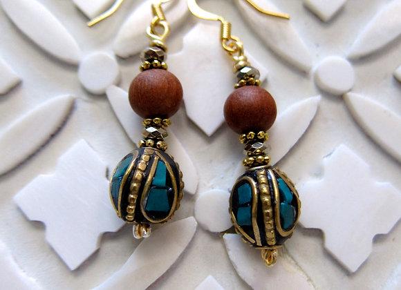 Sandalwood and Turquoise Earrings