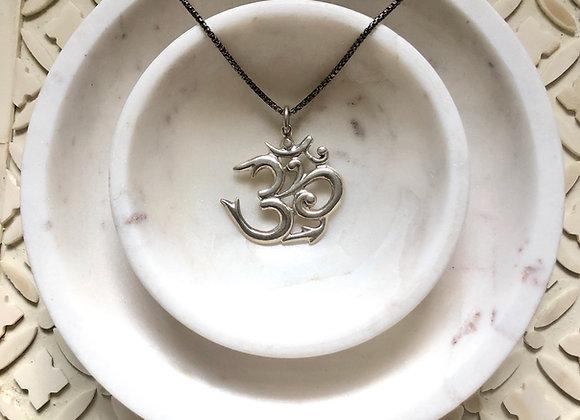 Wanderer Giant Sanskrit Sterling Silver Om Necklace