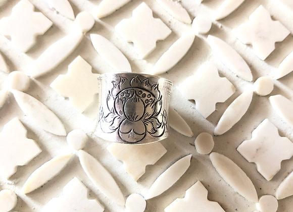 Fine Silver Lotus Cuff Ring Breathe Deep Designs
