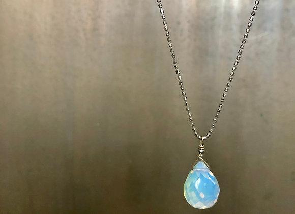Minimalist Opalite Drop Necklace