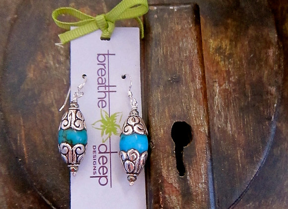 Sterling Silver Turquoise Earrings with Hematite beads 1.25 inches long